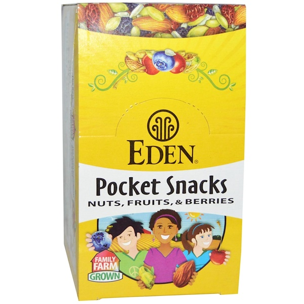 Eden Foods, Pocket Snacks, Wild Berry Mix, 12 Packages, 1 oz (28.3 g) Each