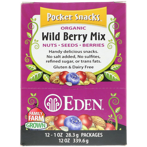 Eden Foods, Pocket Snacks, Organic Wild Berry Mix, 12 Packages, 1 oz (28.3 g) Each