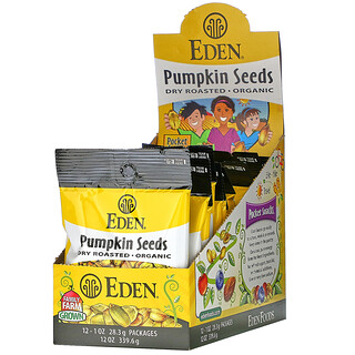 Eden Foods, Pocket Snacks, Organic Pumpkin Seeds, Dry Roasted, 12 Packages, 1 oz (28.3 g) Each