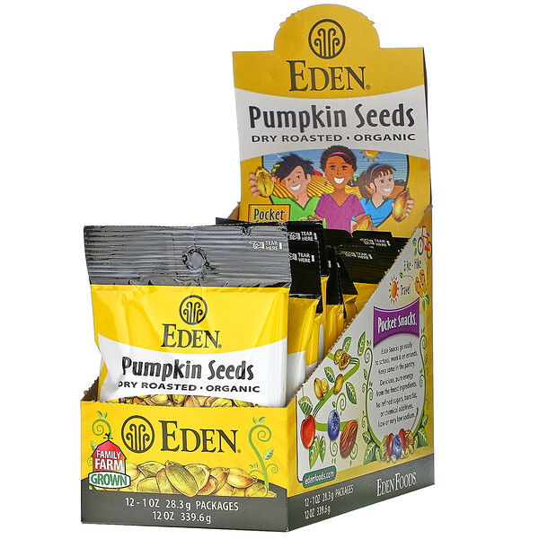 Eden Foods, Pocket Snacks, Organic Pumpkin Seeds, Dry Roasted, 12 Packages, 1 oz (28.3 g) Each