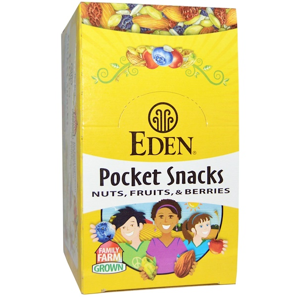 Eden Foods, Organic, Pocket Snacks, Spicy Pumpkin Dry Roasted Seeds, 12 Packages, 1 oz (28.3 g) Each (Discontinued Item)