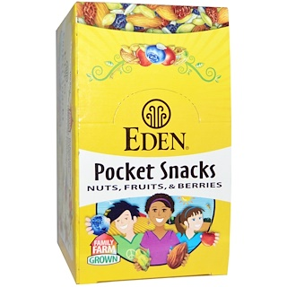 Eden Foods, Pocket Snacks, Quiet Moon, Nuts, Seeds, Dried Fruit, 12 Packages, 1 oz (28.3 g) Each