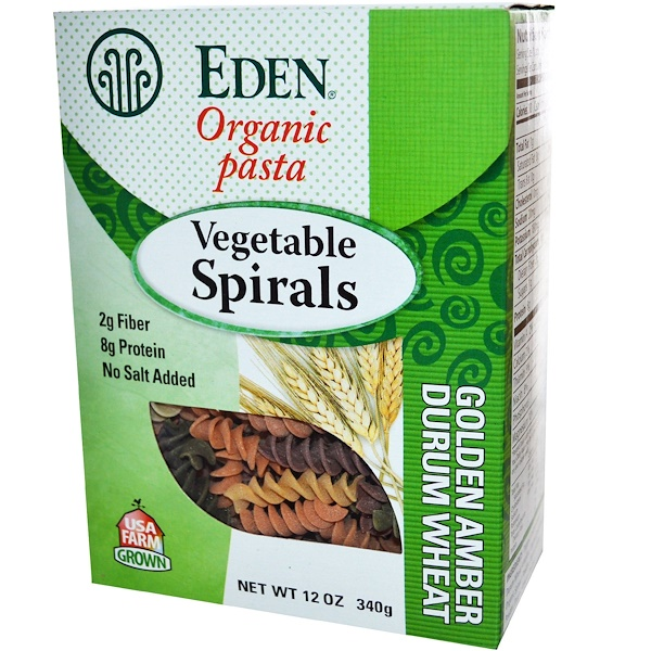 Eden Foods, Organic Pasta, Vegetable Spirals, 12 oz (340 g) (Discontinued Item)