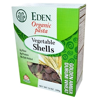 Eden Foods, Organic Pasta, Vegetable Shells, 12 oz (340 g)