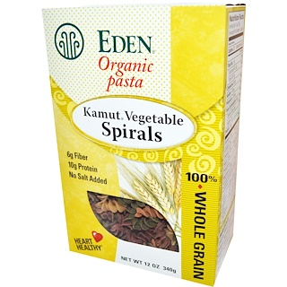 Eden Foods, オーガニック パスタ、 カムート 野菜 スパイラル、 12 oz (340 g)