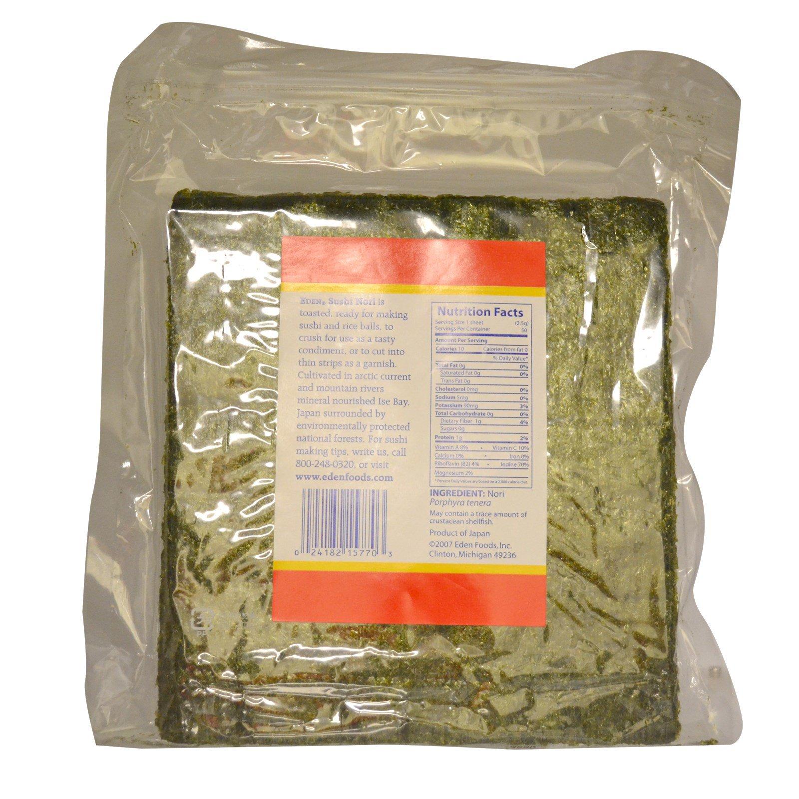 Eden Foods, Sushi Nori, 50 Sheets, 4 4 oz (125 g) - iHerb com