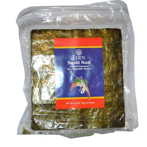 Eden Foods, Суши нори 50 Sheets, 4.4 унции (125 г) (Discontinued Item)
