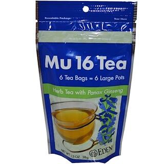 Eden Foods, Mu 16 Tea, with Panax Ginseng, 6 Tea Bags, 1.3 oz (38 g)