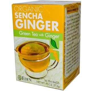 Eden Foods, Organic Sencha Ginger, Green Tea with Ginger, 16 Tea Bags, .95 oz (27.2 g)