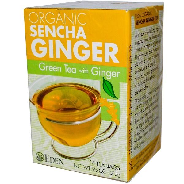 Eden Foods, Органический Сенча имбирь, зеленый чай с имбирем 16 чайных пакетиков, .95 унции (27.2 г) (Discontinued Item)