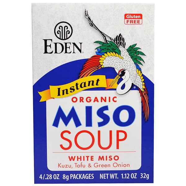 Eden Foods, Instant Organic Miso Soup, White Miso, Kuzu, Tofu & Green Onion, 4 /.28 oz (8 g) Each (Discontinued Item)