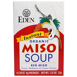 Eden Foods, Instant Organic Miso Soup, Red Miso, Kuzu, Wakame & Green Onion, 4 Packages, .28 oz (8 g) Each