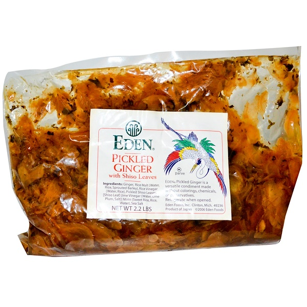 Eden Foods, Pickled Ginger, with Shiso Leaves, 2.2 lbs (1 kg) (Discontinued Item)