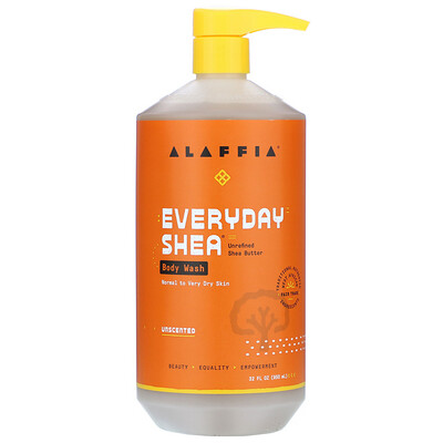 Alaffia Moisturizing Body Wash, Unscented, 32 fl oz (950 ml)