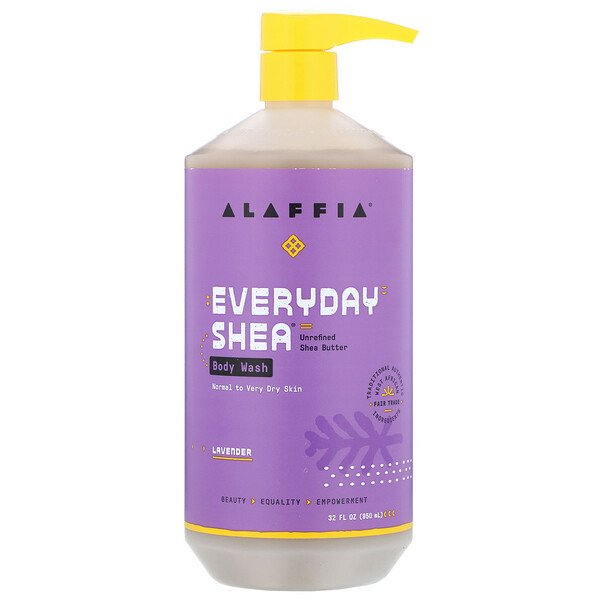 Alaffia, Everyday Shea, Body Wash, Normal to Very Dry Skin, Lavender, 32 fl oz (950 ml)