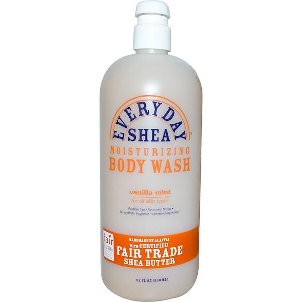 Alaffia, Moisturizing Body Wash, Vanilla Mint, 32 fl oz (950 ml)