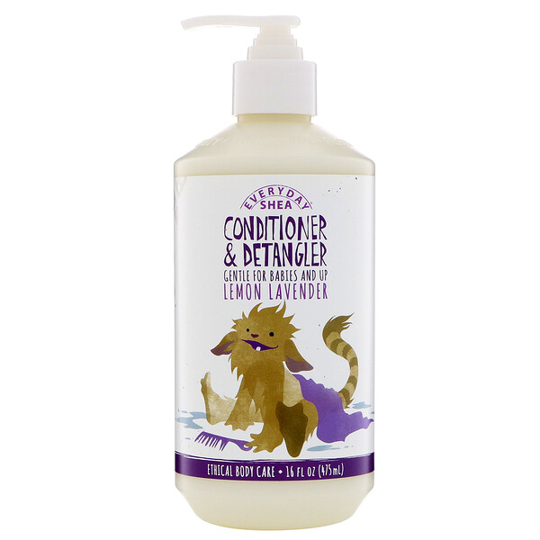 Alaffia, Everyday Shea, Conditioner & Detangler, Gentle for Babies and Up, Lemon Lavender, 16 fl oz (475 ml)