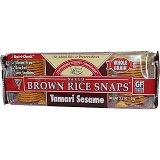 Edward & Sons, ベイクド 玄米スナップス、 たまり醤油セサミ、 3.5 oz (100 g)