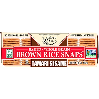 Edward & Sons, Baked Whole Grain Brown Rice Snaps, Tamari Sesame, 3.5 oz (100 g)