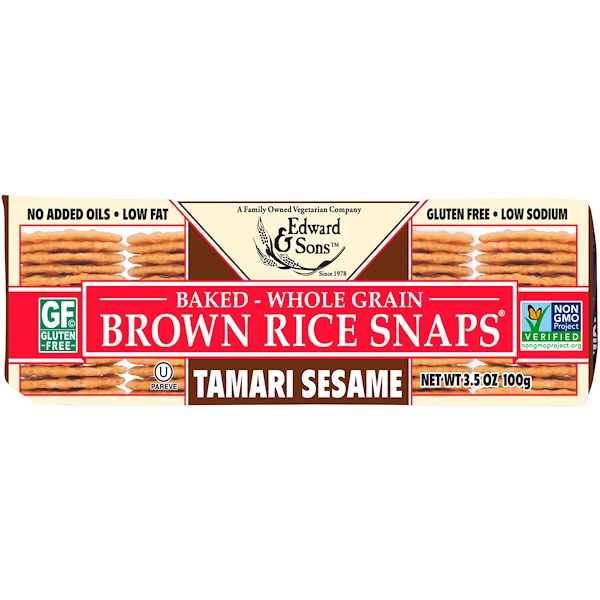 Edward & Sons, Baked Whole Grain Brown Rice Snaps, Tamari Sesame, 3.5 oz (100 g) (Discontinued Item)
