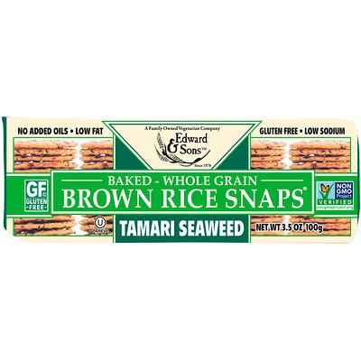 Купить Цельнозерновые хрустящие хлебцы из бурого риса, с морскими водорослями тамари, 100 г (3, 5 унции)