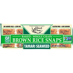 Edward & Sons, Baked Whole Grain Brown Rice Snaps, Tamari Seaweed, 3.5 oz (100 g)