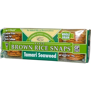 Edward & Sons, Baked Brown Rice Snaps, Tamari Seaweed, 3.5 oz (100 g)