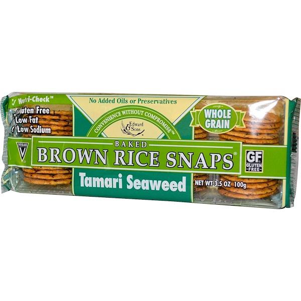 Edward & Sons, Baked Brown Rice Snaps, Tamari Seaweed, 3.5 oz (100 g)