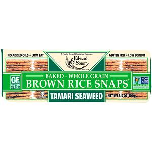 Эдвард энд Санс, Baked Whole Grain Brown Rice Snaps, Tamari Seaweed, 3.5 oz (100 g) отзывы покупателей