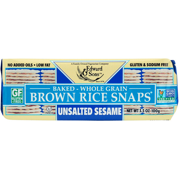 Edward & Sons, Baked Whole Grain Brown Rice Snaps, Unsalted Sesame, 3.5 oz (100 g)