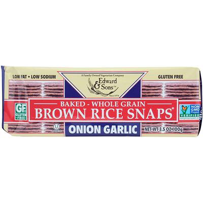 цена на Запеченные цельнозерновые чипсы из бурого риса, Лук и чеснок, 3,5 унц. (100 г)