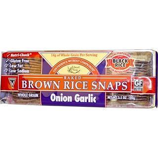 Edward & Sons, Baked Brown Rice Snaps, Onion Garlic, 3.5 oz (100 g)