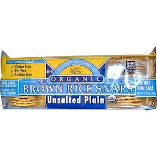 Edward & Sons, Baked Brown Rice Snaps, Unsalted Plain, Organic, 3.5 oz (100 g)