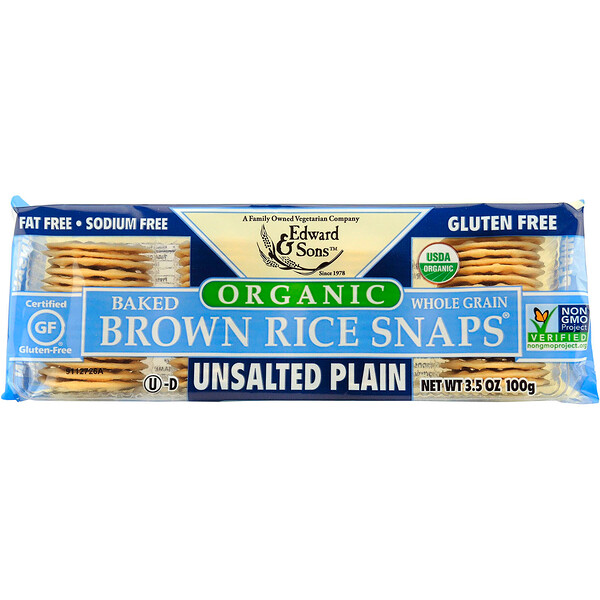Edward & Sons, Organic, Baked Whole Grain Brown Rice Snaps, Unsalted Plain, 3、5 oz (100 g)
