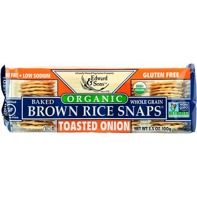 Купить Органический продукт, Запеченые цельнозерновые чипсы из бурого риса, ЖАреный лук, 3, 5 унц. (100 г)