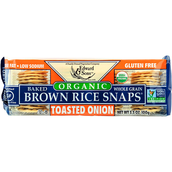 Organic, Baked Whole Grain Brown Rice Snaps, Toasted Onion, 3.5 oz (100 g)
