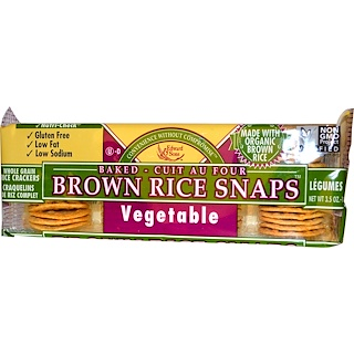 Edward & Sons, Baked Brown Rice Snaps, Vegetable, 3.5 oz (100 g)