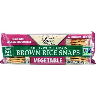 Edward & Sons, Baked Whole Grain Brown Rice Snaps, Vegetable, 3.5 oz (100 g)