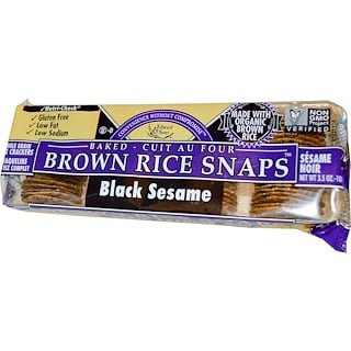 Edward & Sons, Baked Brown Rice Snaps, Black Sesame, 3.5 oz (100 g)