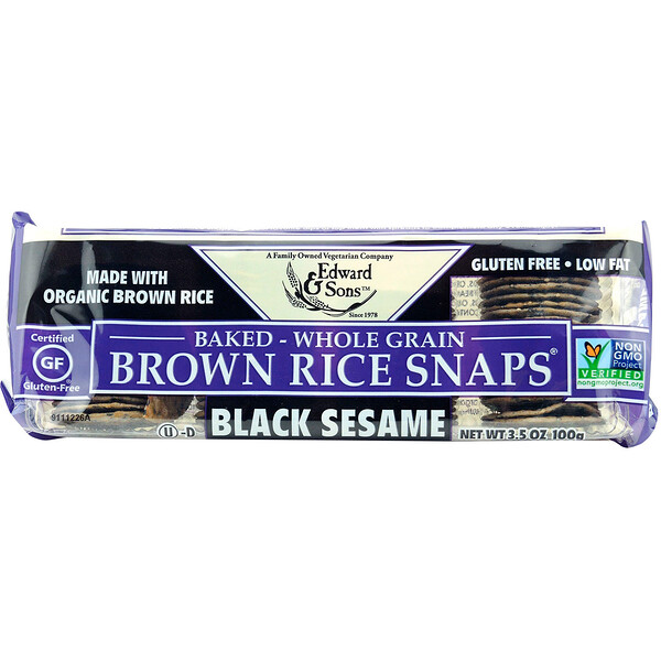 Edward & Sons, Baked Whole Grain Brown Rice Snaps, Black Sesame, 3.5 oz (100 g)