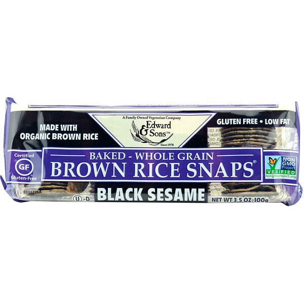 Baked Whole Grain Brown Rice Snaps, Black Sesame, 3.5 oz (100 g)