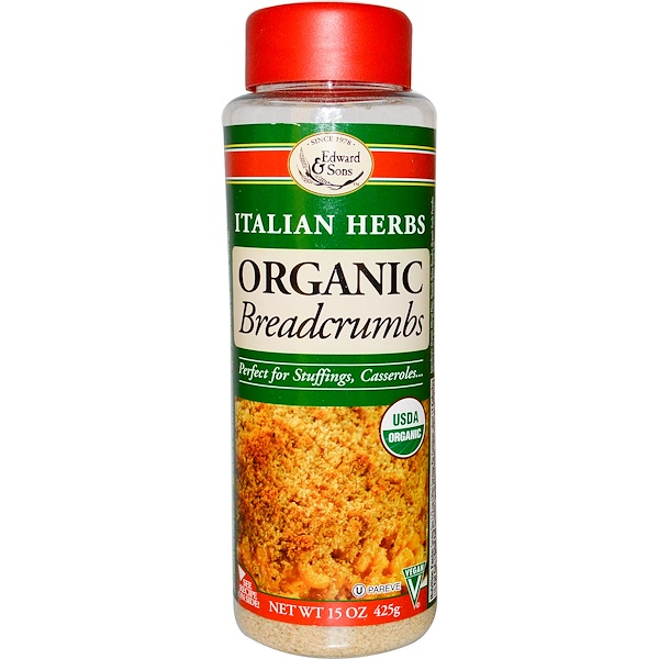 Edward & Sons, Breadcrumbs, Italian Herbs, Organic, 15 oz (425 g)