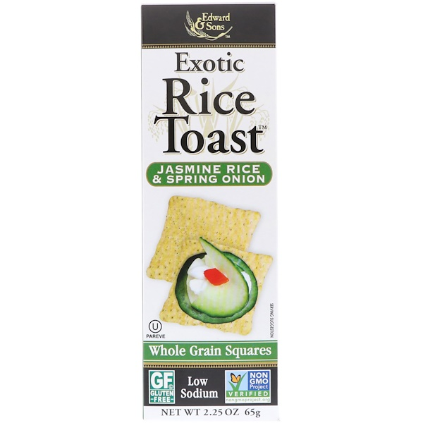 Edward & Sons, Exotic Rice Toast, Whole Grain Squares, Jasmine Rice & Spring Onion, 2、25 oz (65 g)