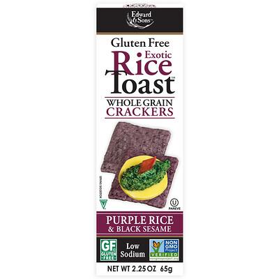 Тост с экзотическим рисом, Крекеры из цельного зерна, Фиолетовый рис и черный кунжут, 2,25 унц. (65 г)