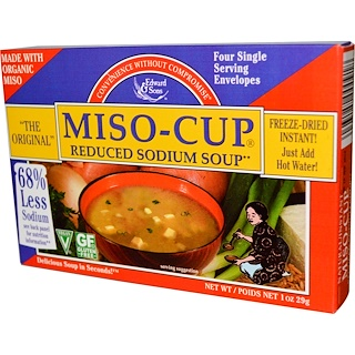 Edward & Sons, Miso-Cup, Reduced Sodium Soup, 4 Single Servings Envelopes, 7.2 g Each