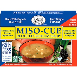 Edward & Sons, Miso-Cup, Reduced Sodium Soup, 4 Single Serving Envelopes, 7.2 g Each