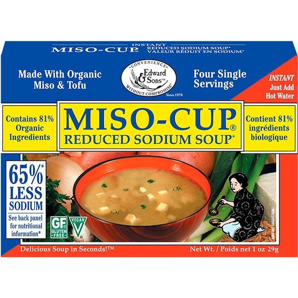 Edward & Sons, Edward & Sons, Miso-Cup, Reduced Sodium Soup, 4 Single Serving Envelopes, 7、2 g Each