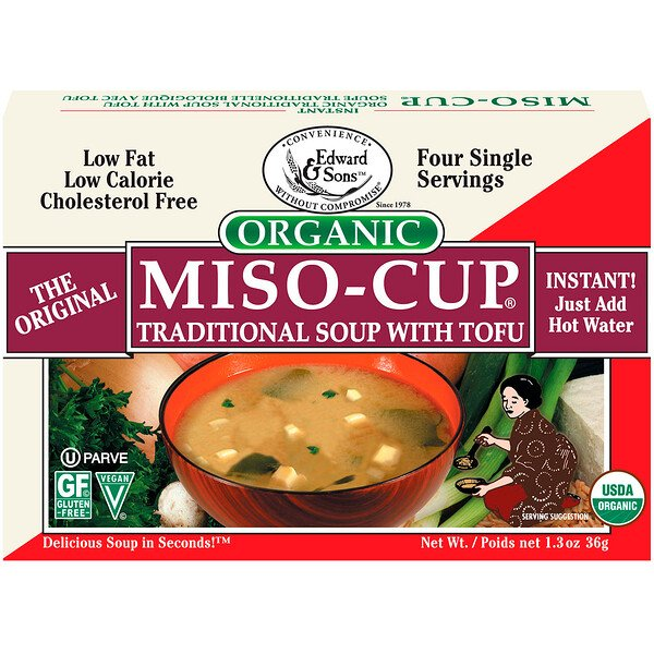 Edward & Sons, Organic Miso-Cup, Traditional Soup with Tofu, 4 Single Serving Envelops, 9 g Each