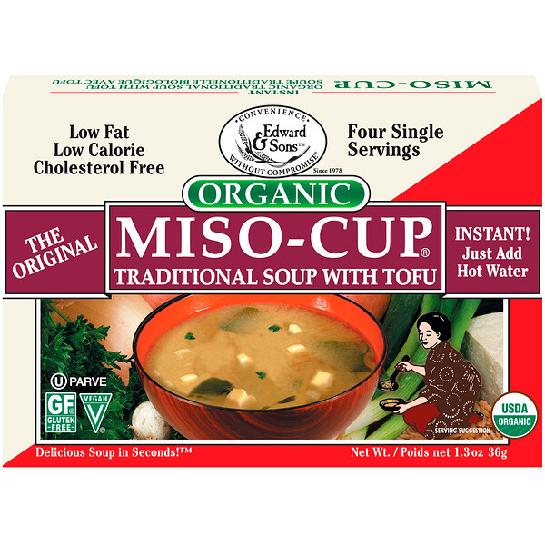 Organic Miso-Cup, Traditional Soup with Tofu, 4 Single Serving Envelops, 9 g Each