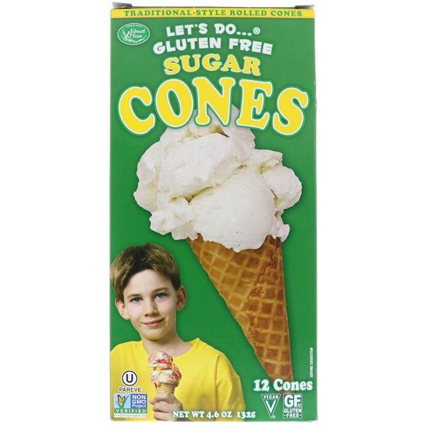 Edward & Sons, Let's Do Organic, Gluten Free Sugar Cones, 12 Cones, 4.6 oz (132 g)